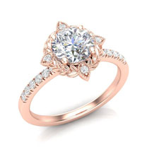 floral vintage halo engagement ring