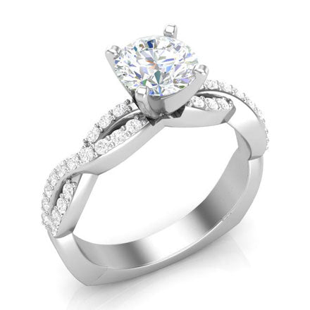 full diamond twisted engagement ring