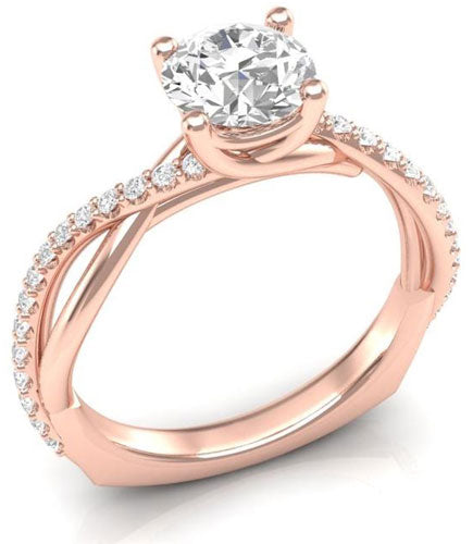 twisted half diamond engagement ring