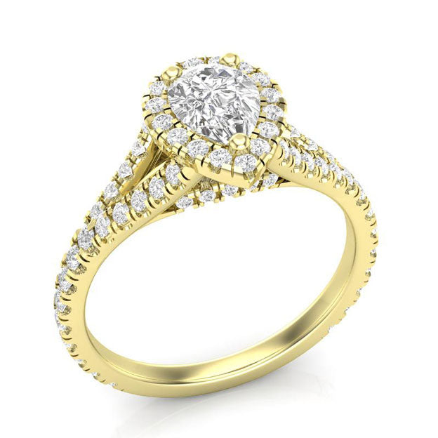yellow gold pear ring