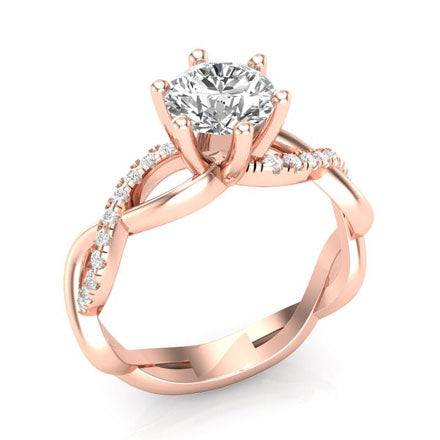 rose gold twisted engagement ring