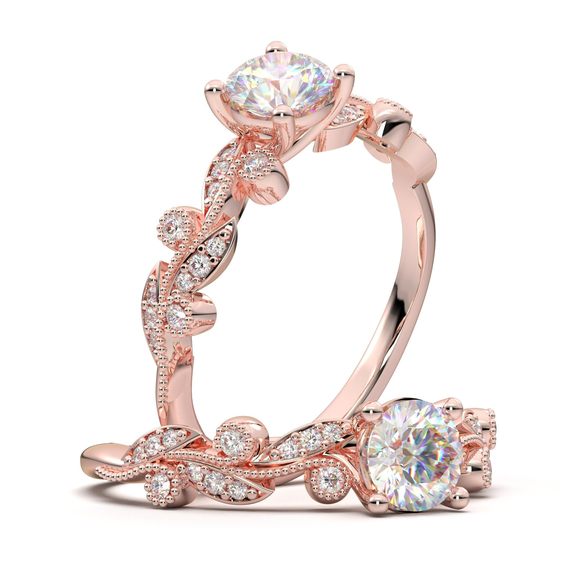 timeless rose gold floral lead ring