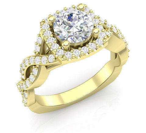 twisted cushion engagement ring