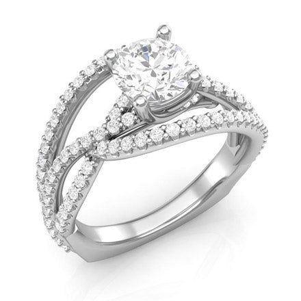 White Gold Twisted-Style Engagement Ring