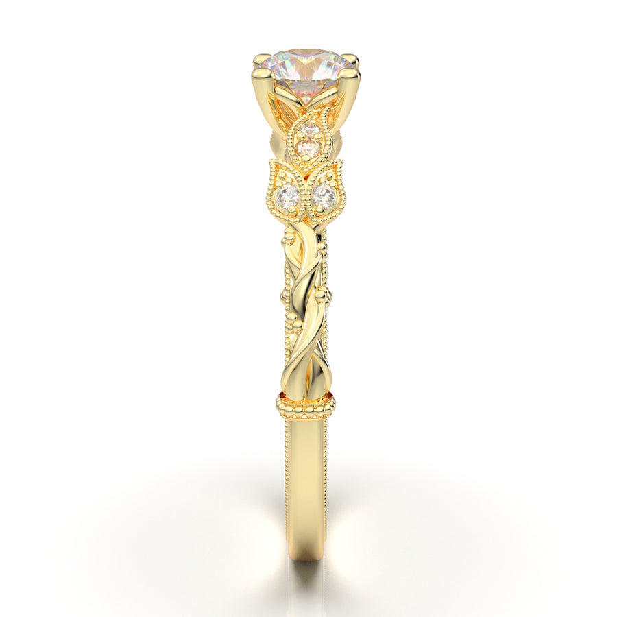 Home Try On--Yellow Gold Floral Vine Ring