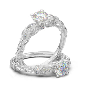 Home Try On--White Gold Floral Vine Ring