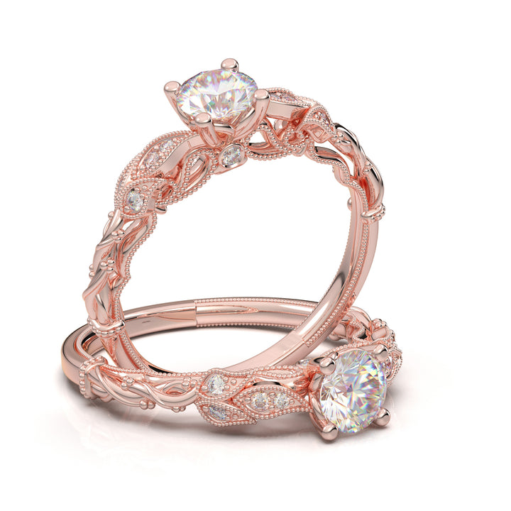 Rose Gold Floral Vine Ring