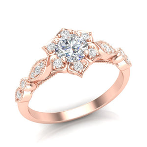 Rose Gold Floral Petal Halo Ring