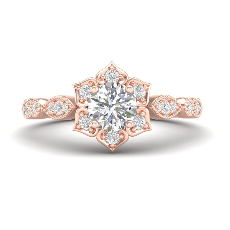 Home Try On--Rose Gold Floral Petal Halo Ring