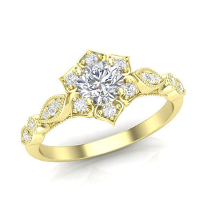 Yellow Gold Floral Petal Halo Ring