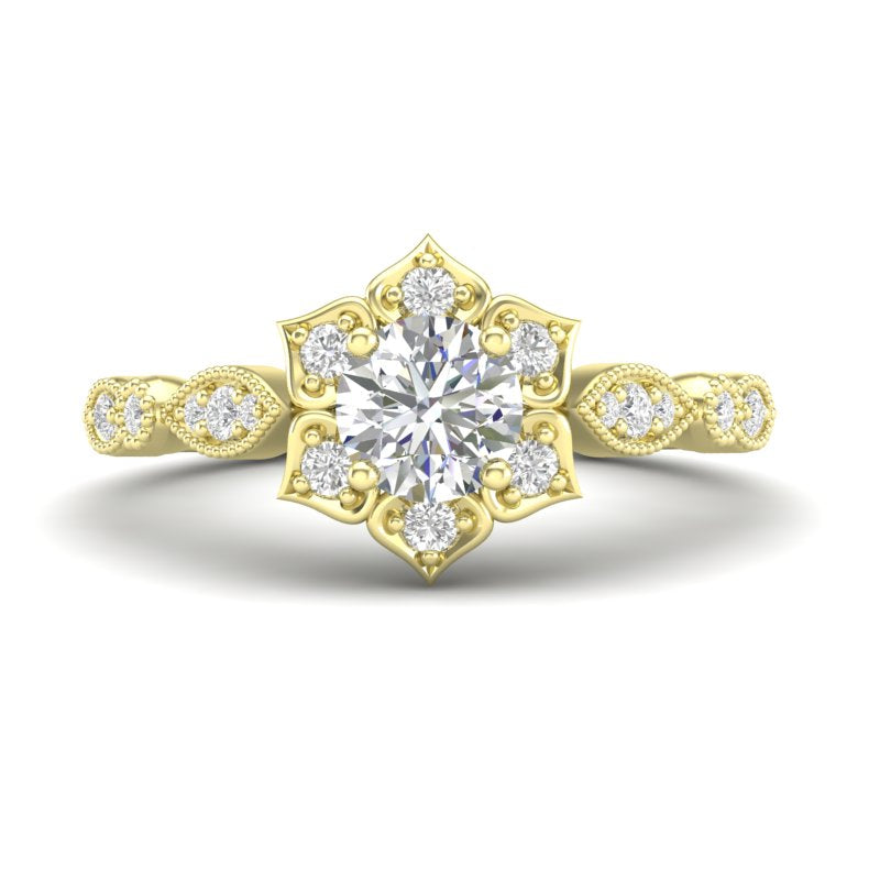 Home Try On--Yellow Gold Floral Petal Halo Ring