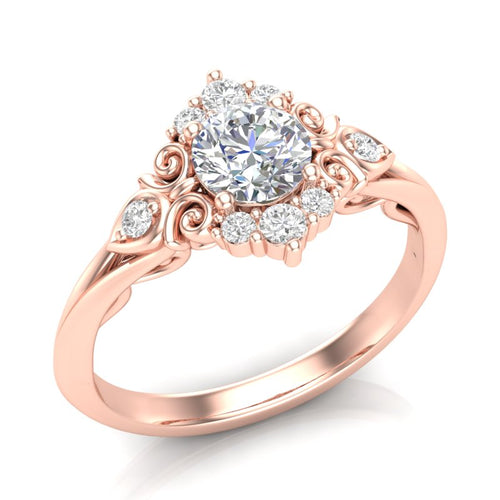 Home Try On--Rose Gold Vintage Filigree Halo Ring