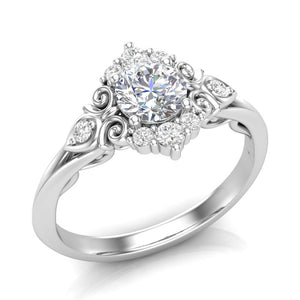 White Gold Vintage Filigree Halo Ring