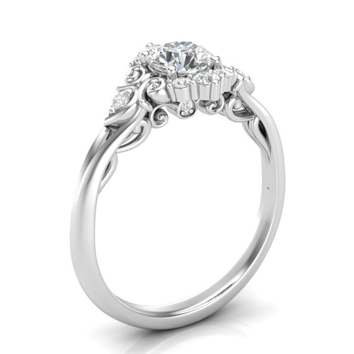 Home Try On--White Gold Vintage Filigree Halo Ring