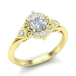 Yellow Gold Vintage Filigree Halo Ring