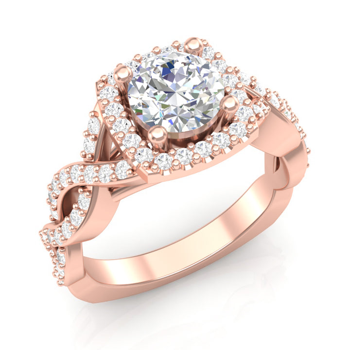 Rose Gold Infinity Twist Cushion Halo Ring