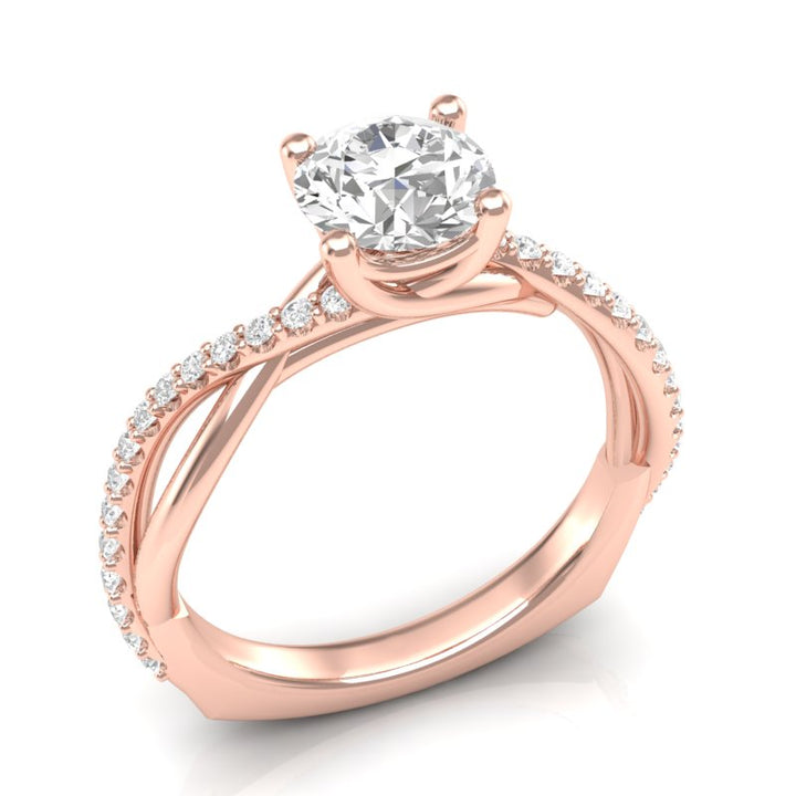Rose Gold Twisted Half Diamond Ring