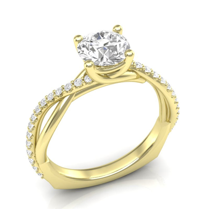 Yellow Gold Twisted Half Diamond Ring