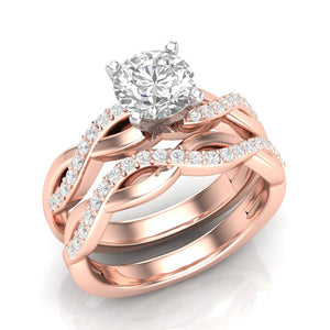 Home Try On--Rose Gold Infinity Half Diamond Engagement Set