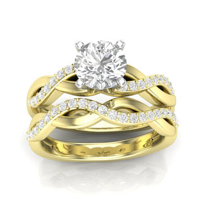 Home Try On--Yellow Gold Infinity Half Diamond Engagement Set