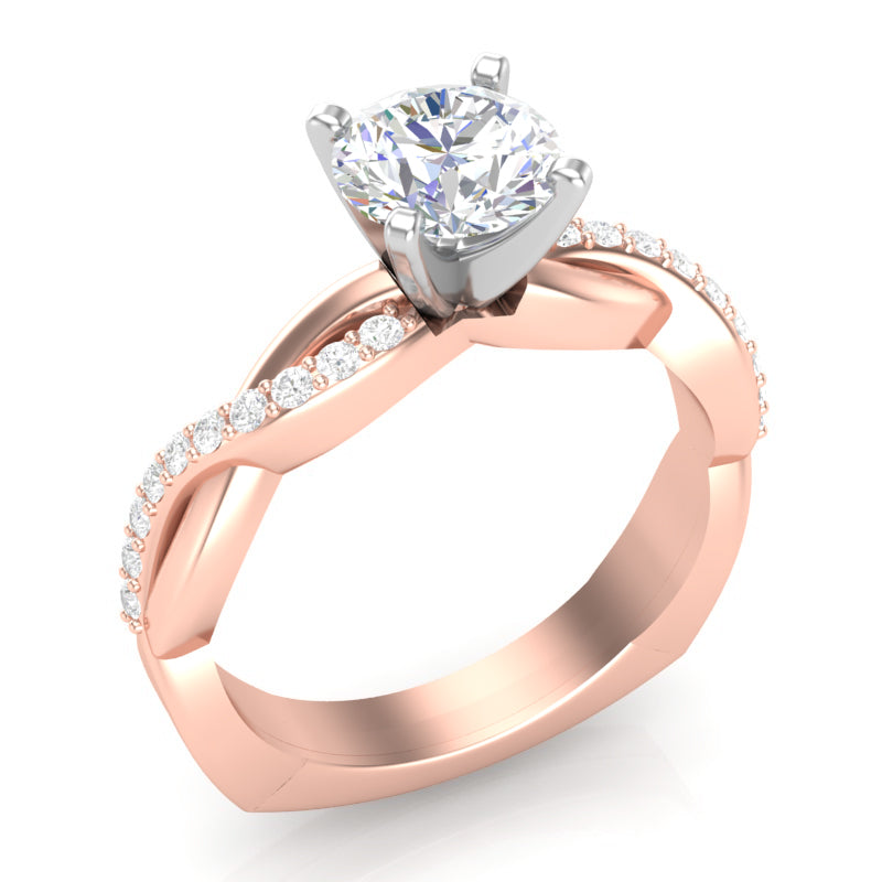 Home Try On--Rose Gold Infinity Half Diamond Square Shank Ring