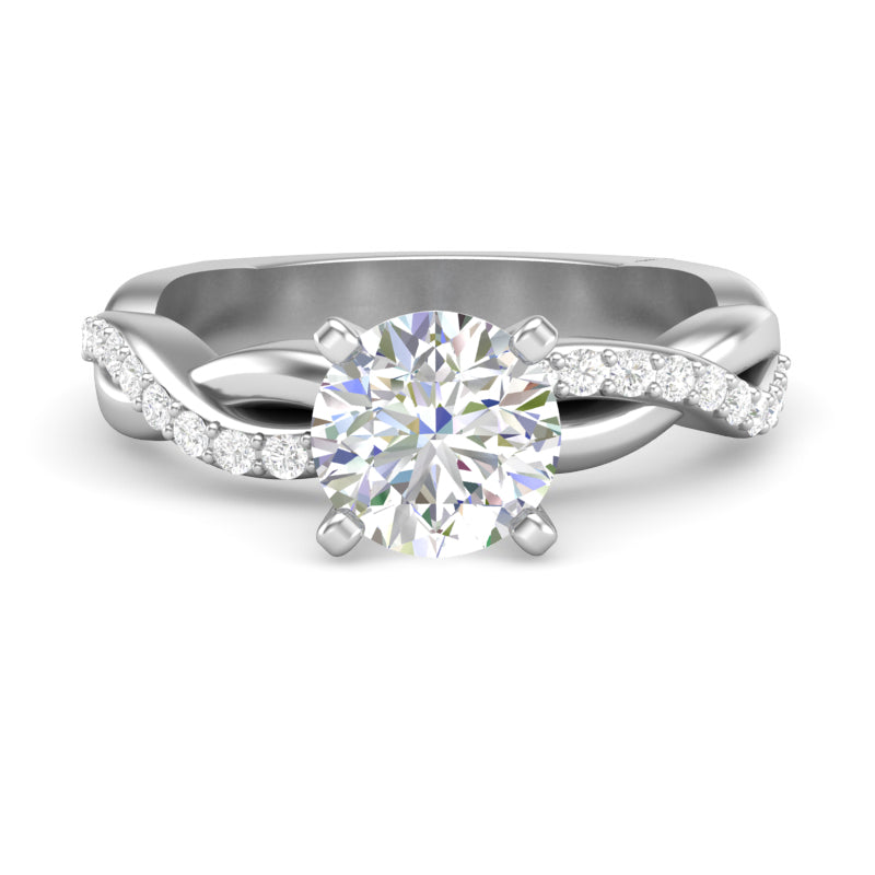 Home Try On--White Gold Infinity Half Diamond Square Shank Ring