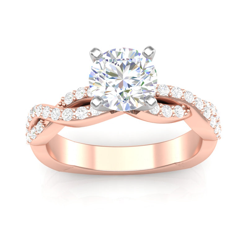 Rose Gold Infinity Full Diamond Square Shank Ring
