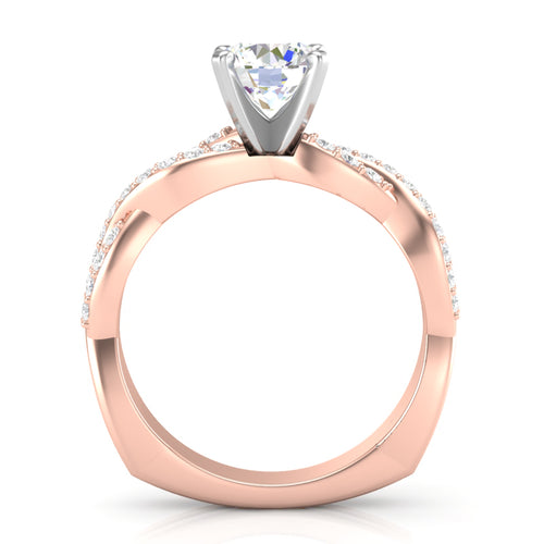 Home Try On--Rose Gold Infinity Full Diamond Square Shank Ring