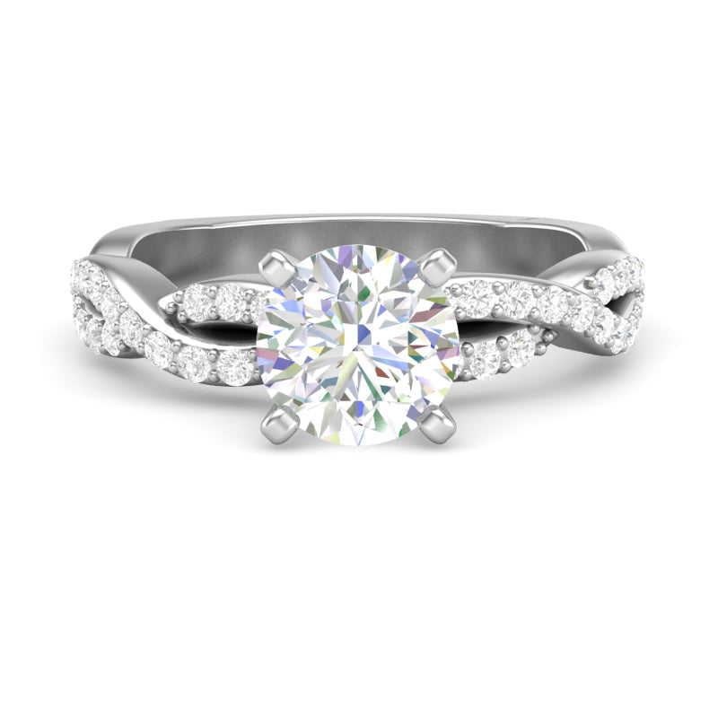 Home Try On--White Gold Infinity Full Diamond Square Shank Ring