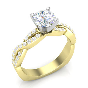 Yellow Gold Infinity Full Diamond Square Shank Ring