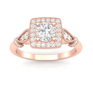 Home Try On--Rose Gold Milgrain Cushion Halo Pear Ring