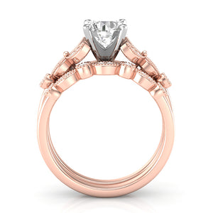 Home Try On--Rose Gold Floral Stackable Engagement Set