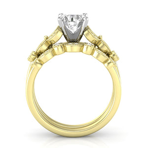 Home Try On--Yellow Gold Floral Stackable Engagement Set