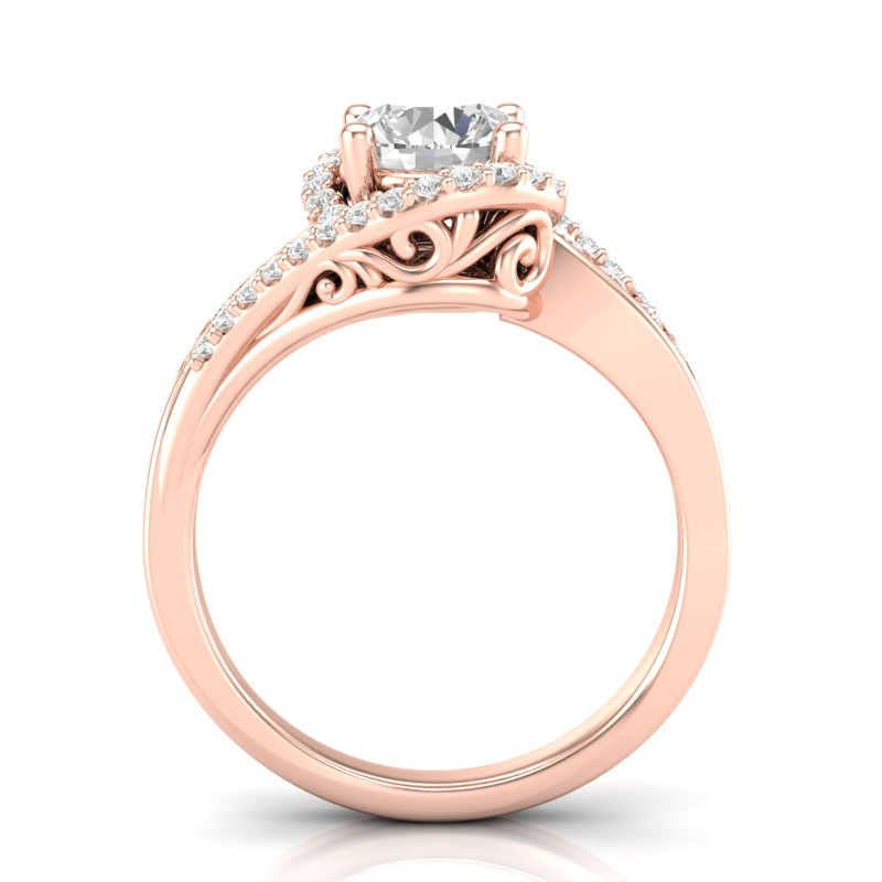 Rose Gold Twisted Filigree Swirl Halo Ring