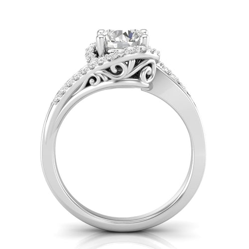 White Gold Twisted Filigree Swirl Halo Ring