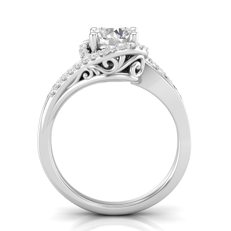 Home Try On--White Gold Twisted Filigree Swirl Halo Ring