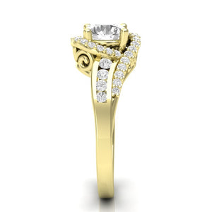 Home Try On--Yellow Gold Twisted Filigree Swirl Halo Ring