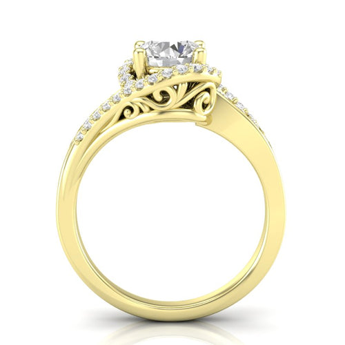 Yellow Gold Twisted Filigree Swirl Halo Ring