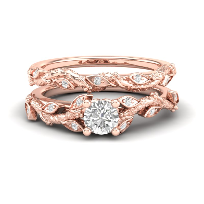 Rose Gold Floral Tree Engagement Set