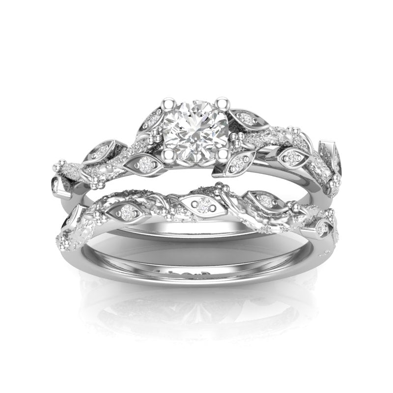 White Gold Floral Tree Engagement Set