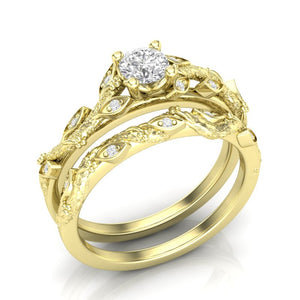Yellow Gold Floral Tree Engagement Set