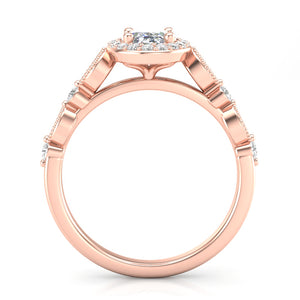 Home Try On--Rose Gold Oval Halo Stackable Ring