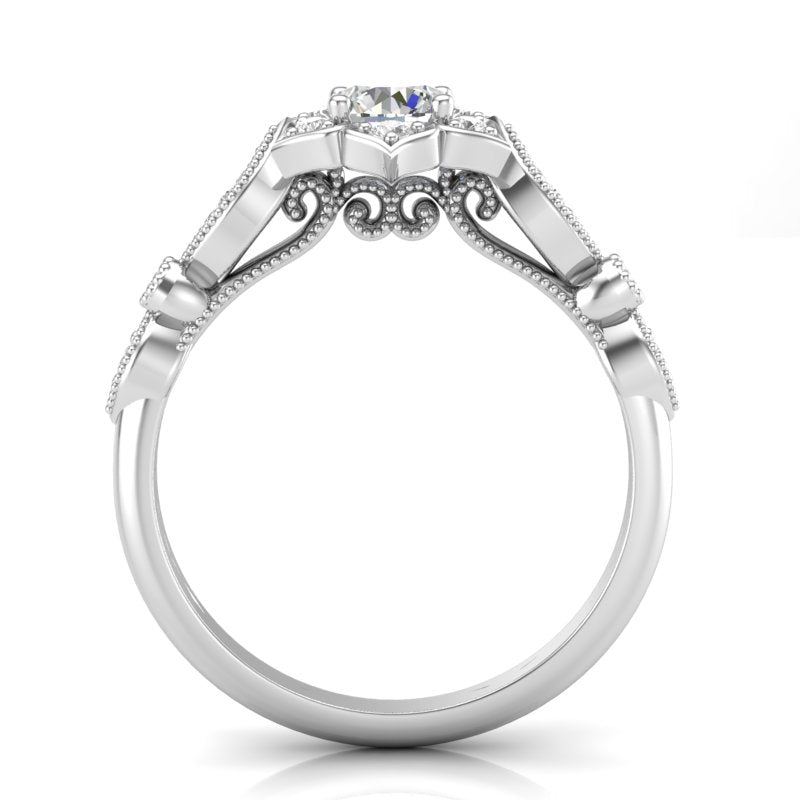 White Gold Floral Petal Halo Ring