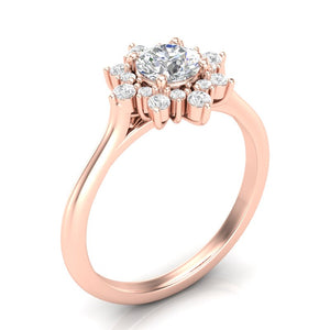 Home Try On--Rose Gold Classic Sunburst Halo Ring