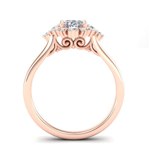 Home Try On--Rose Gold Oval Sunburst Halo Ring