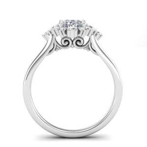 Home Try On--White Gold Oval Sunburst Halo Ring