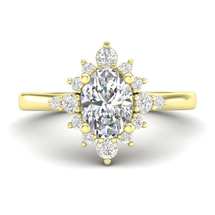 Home Try On--Yellow Gold Oval Sunburst Halo Ring