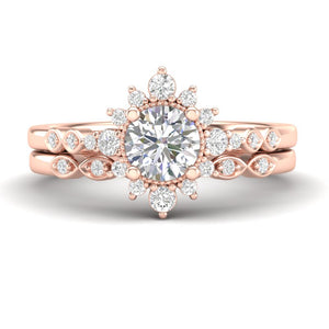 Rose Gold Sunburst Halo Bridal Set