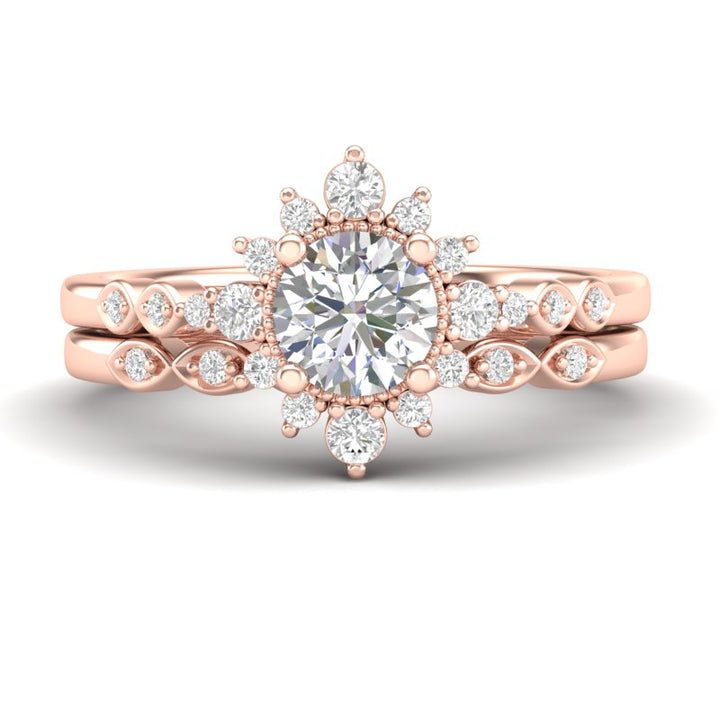 Home Try On--Rose Gold Sunburst Halo Bridal Set