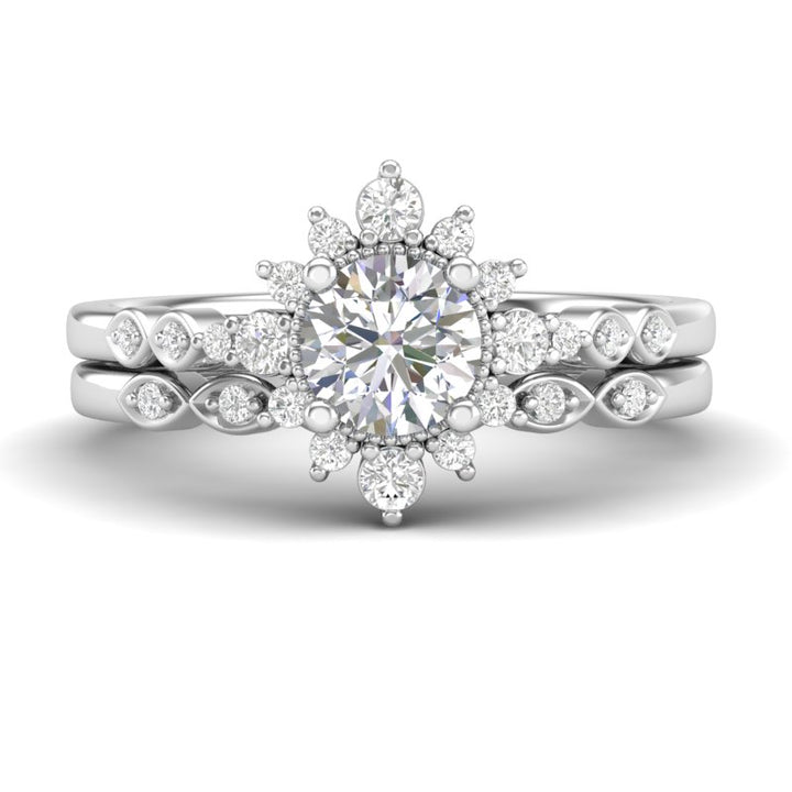 Home Try On--White Gold Sunburst Halo Bridal Set